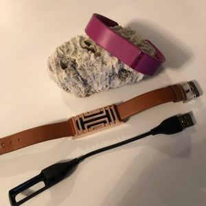 FitBit Flex + cord + sportband + tan/gold band